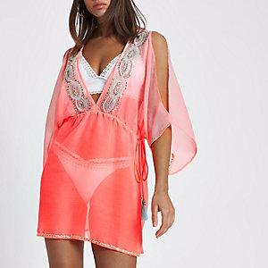 Bright pink chiffon embellished beach caftan