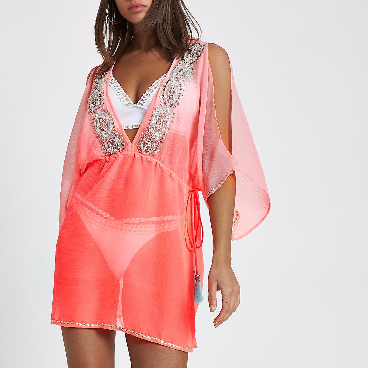 Bright pink chiffon embellished beach kaftan
