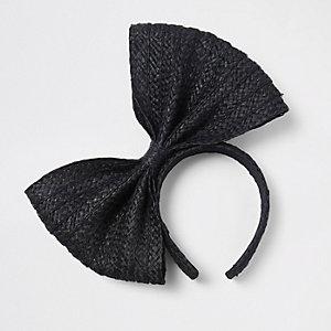 Serre-tête en paille noir avec nœud