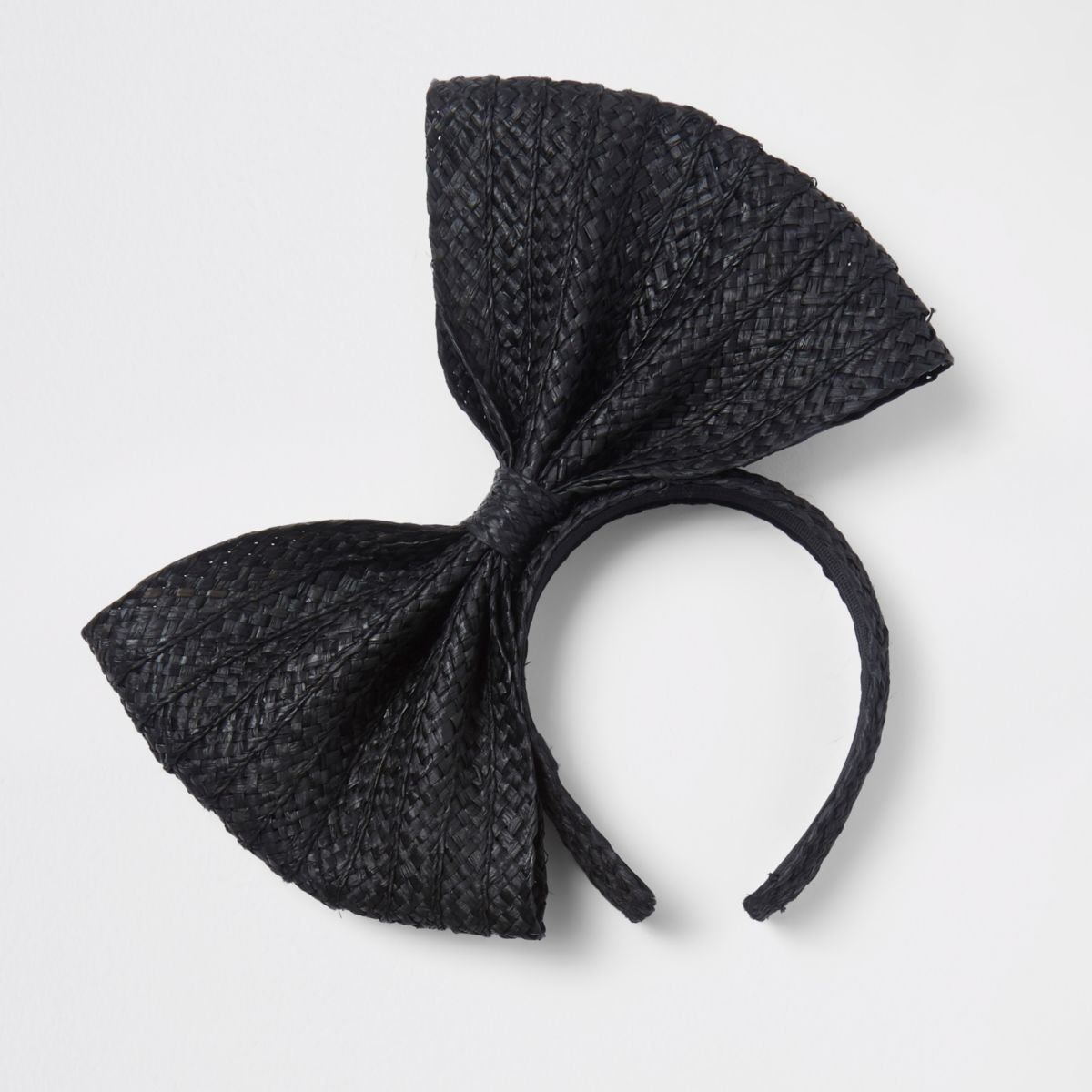 Black straw bow headband