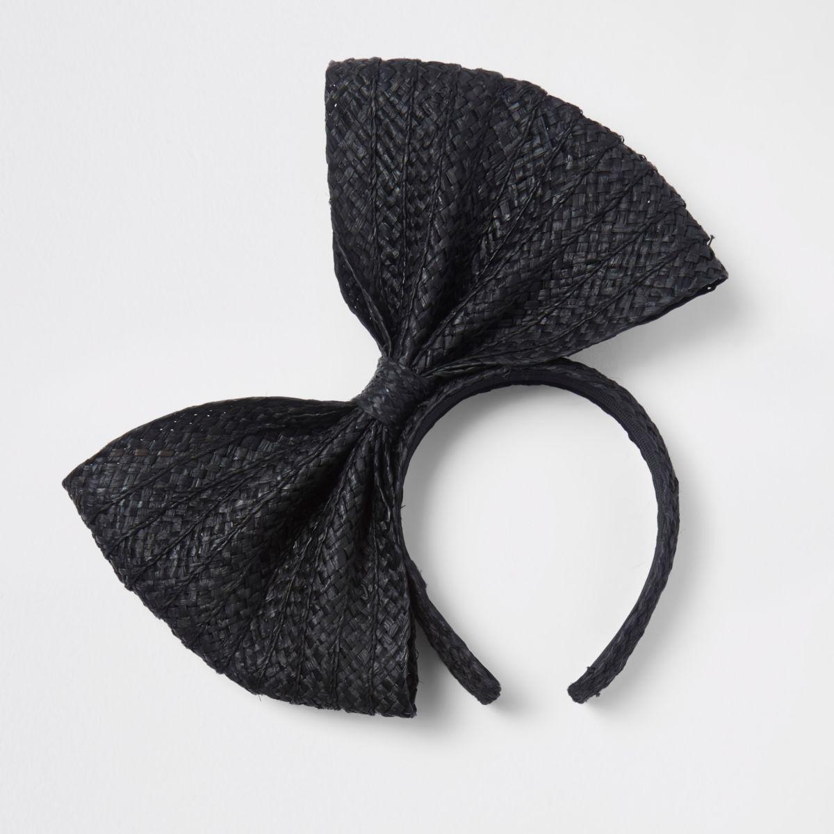 Black straw bow headband