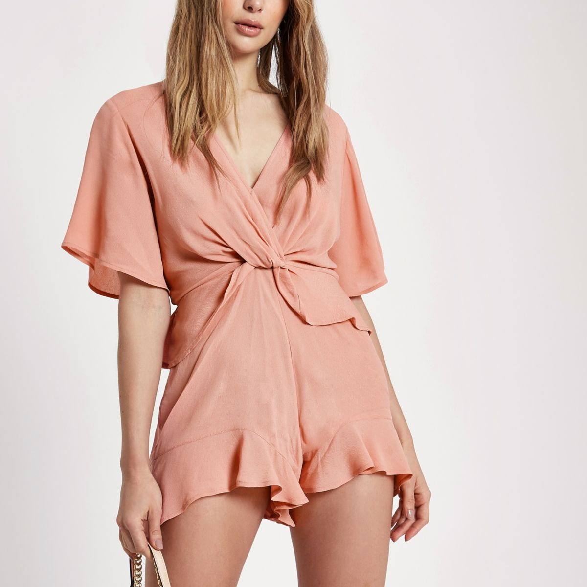Pink knot front playsuit