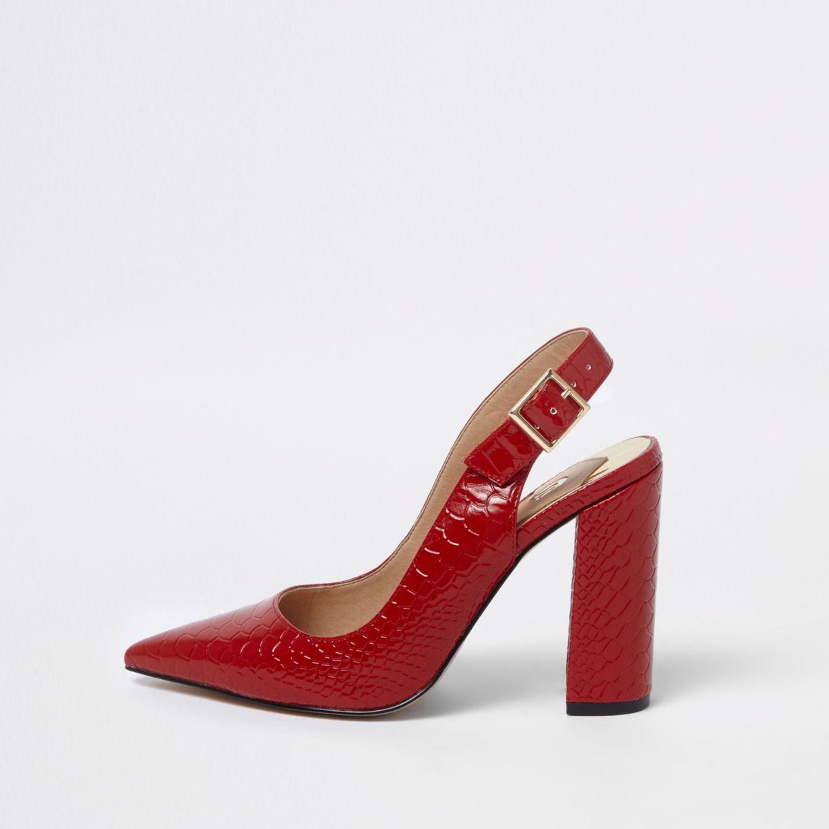Red croc block heel sling back pumps