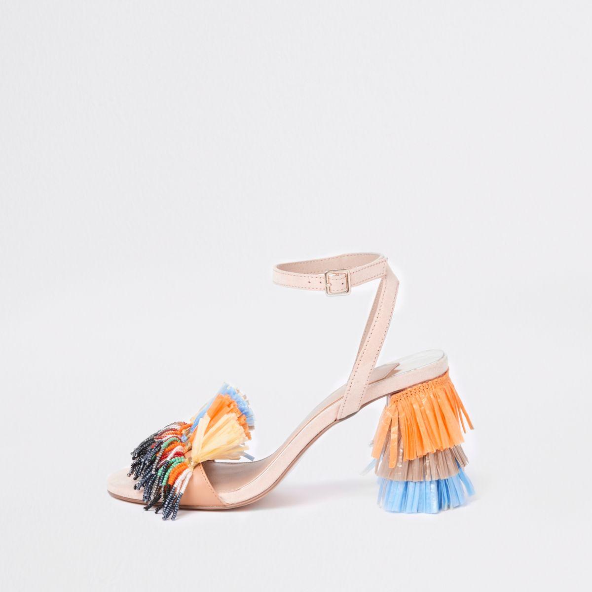 Orange raffia block heel sandals