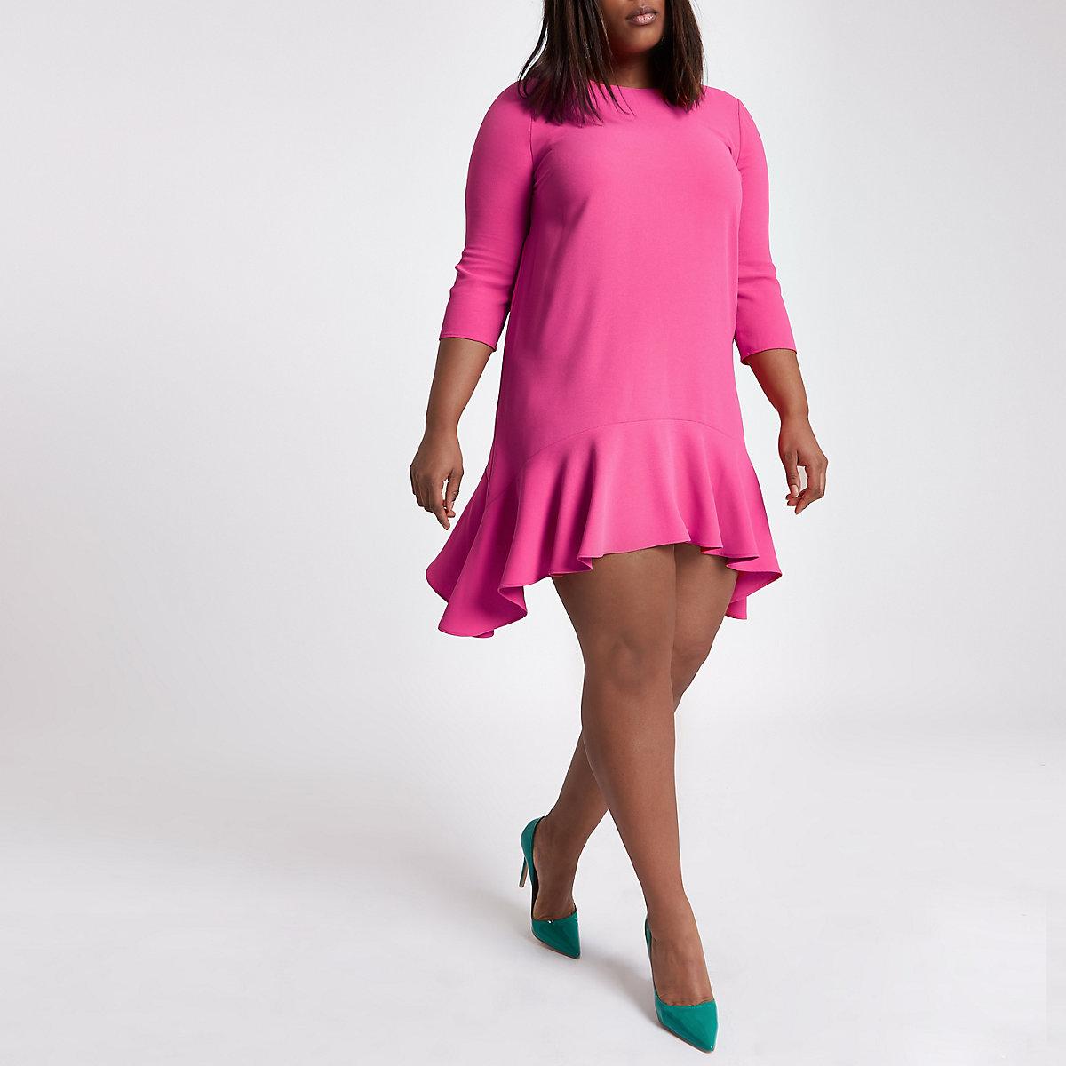 Plus pink frill hem tie back swing dress