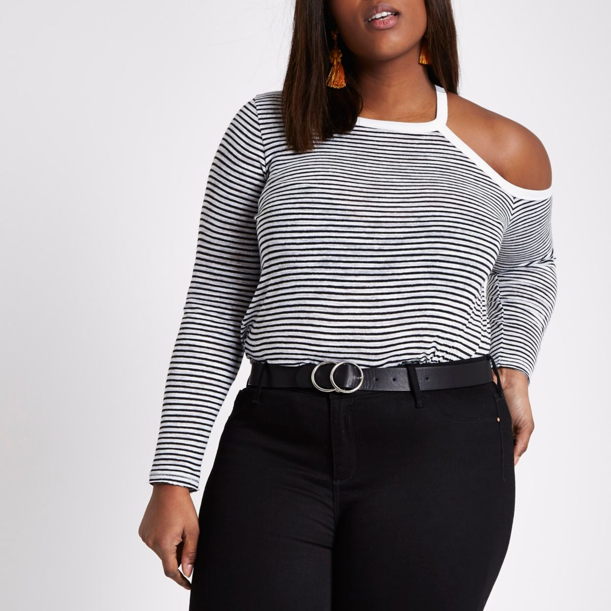 Plus black stripe cut out cold shoulder top
