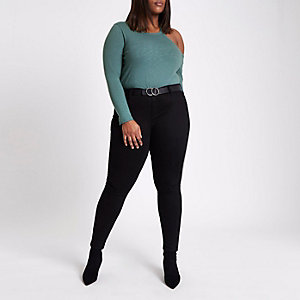 Plus green cut out cold shoulder knit top