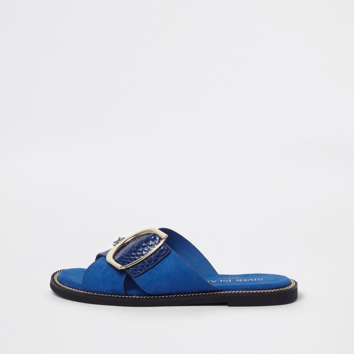 Blue croc gold tone buckle mules