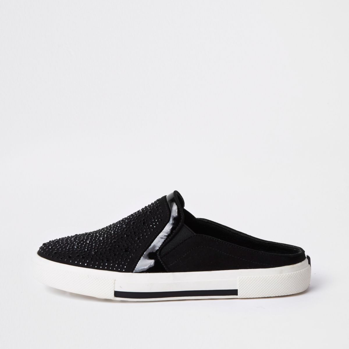 Black heat seal slip on backless plimsolls