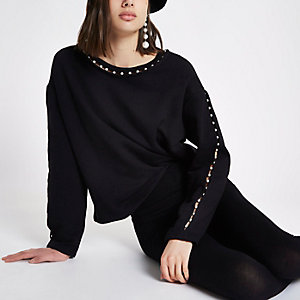 Black faux pearl neck sweatshirt