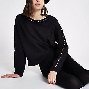 Zwart sweatshirt met imitatieparels langs de hals