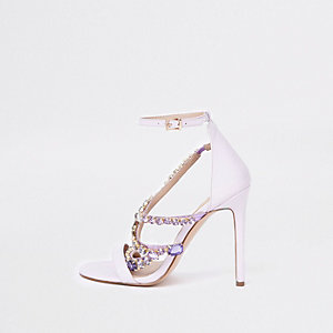 Lilac jewel barely there sandals