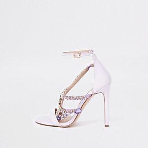 Sandales minimalistes lilas à pierreries
