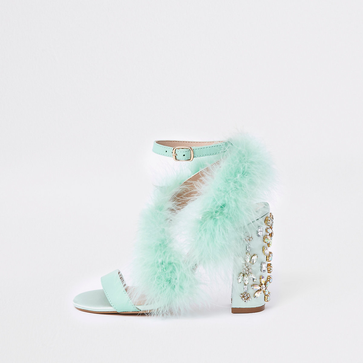 Turquoise feather block heel sandals