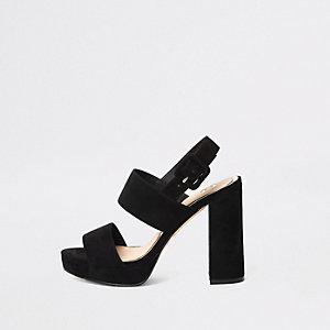 Black buckle strap platform heel sandals