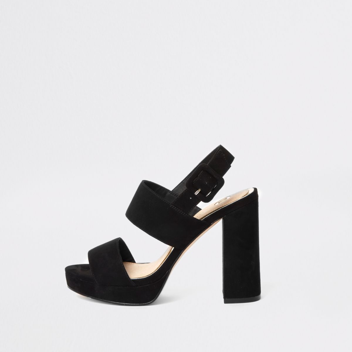 Black buckle strap platform heel sandals