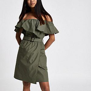 RI Petite - Kakigroene mini-jurk met bardothalslijn en riem