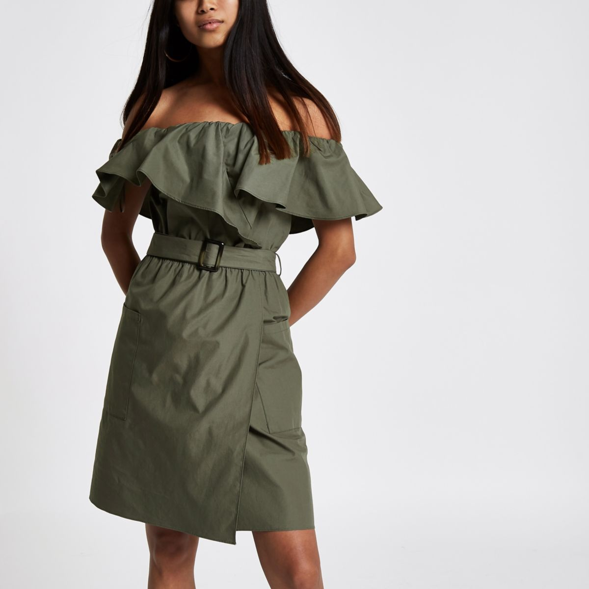 Petite khaki green bardot belted mini dress