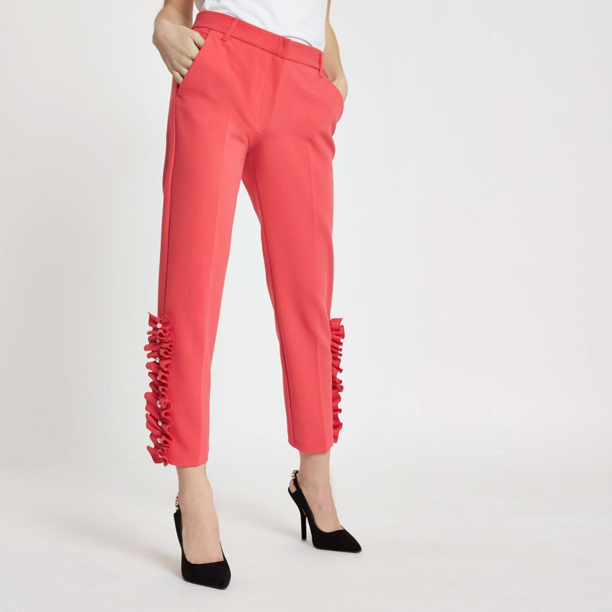 Petite pink pearl hem cigarette trousers