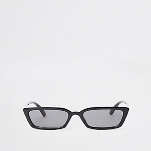 Black slim frame smoke lens sunglasses