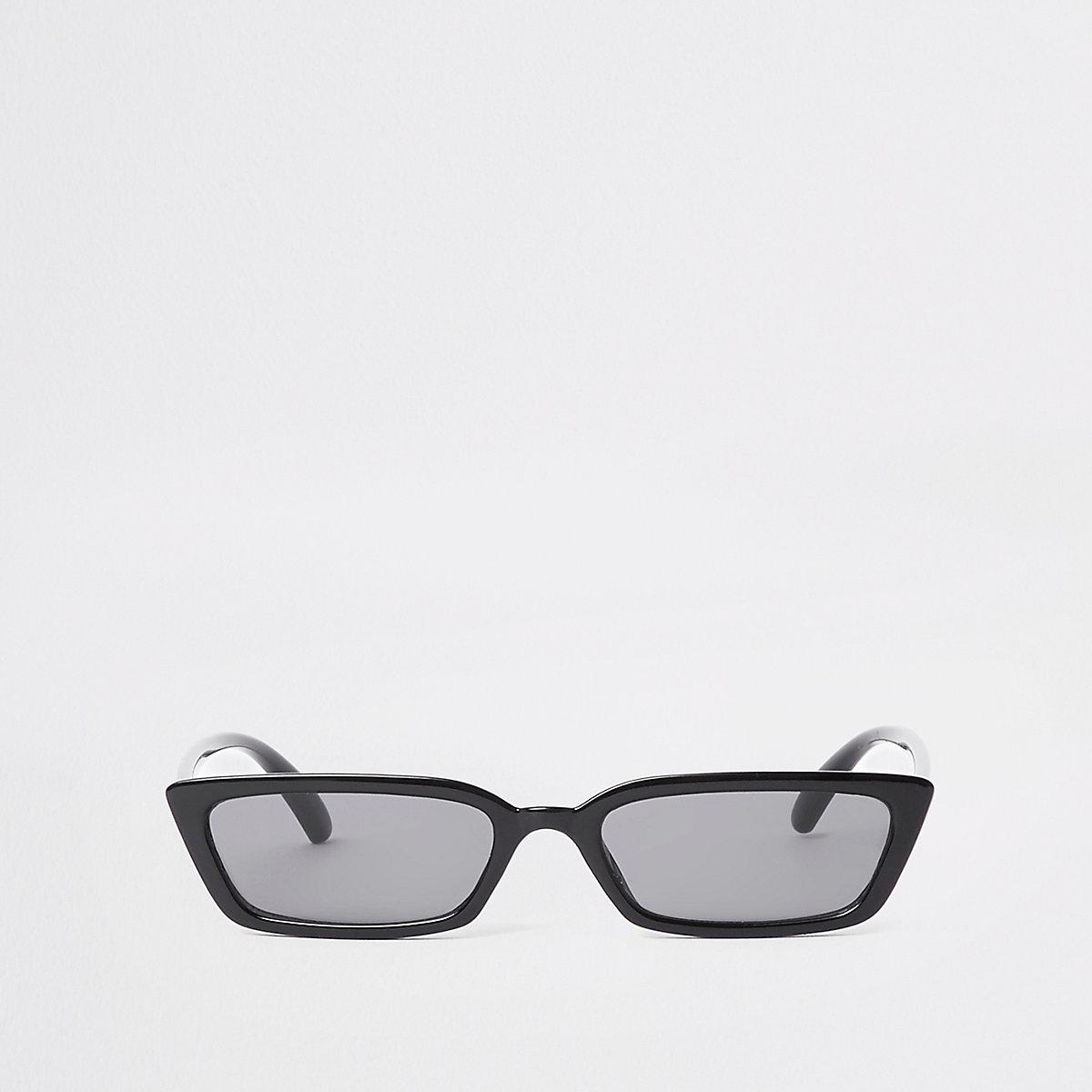 Black slim frame smoke lens sunglasses