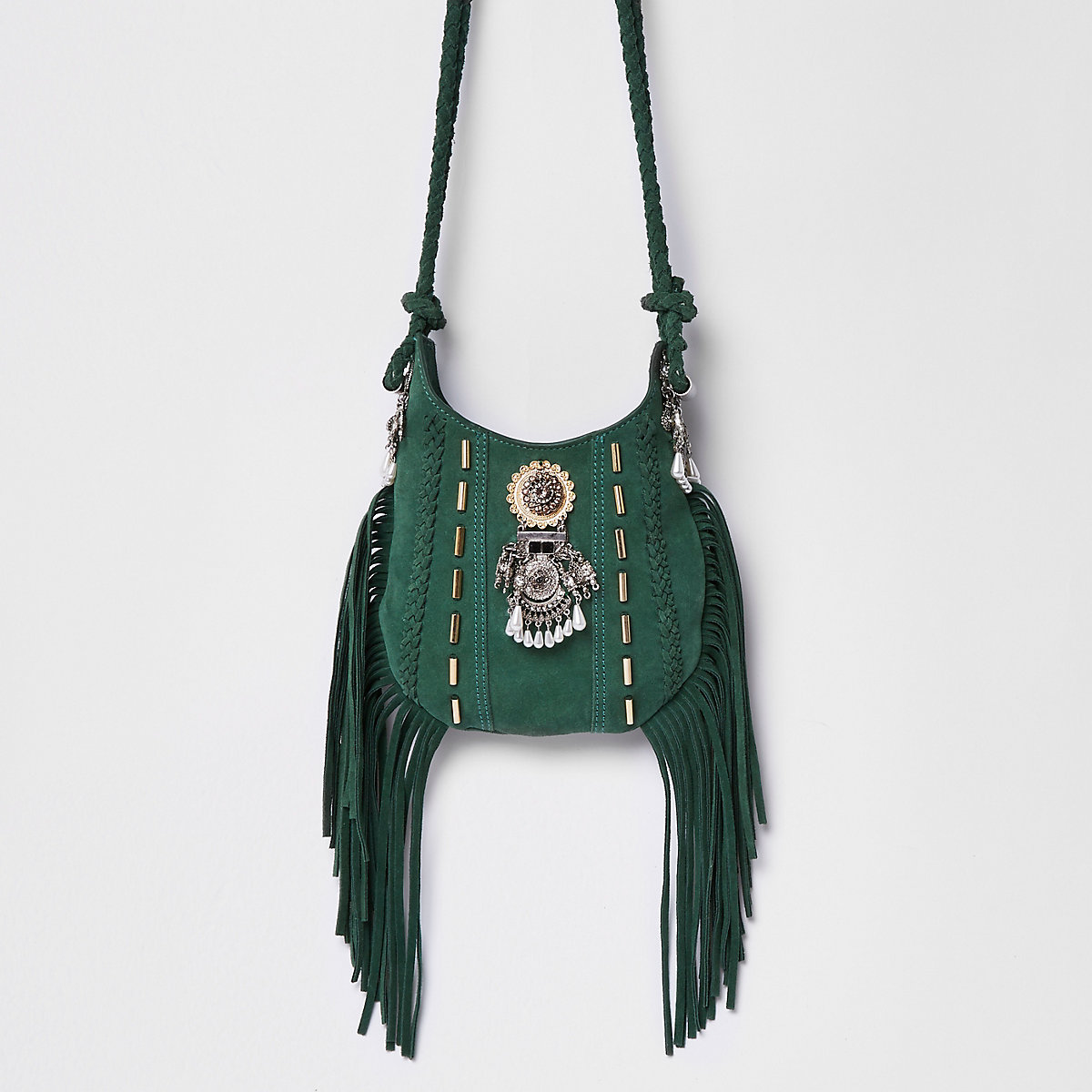Green mini embellished tassel cross body bag