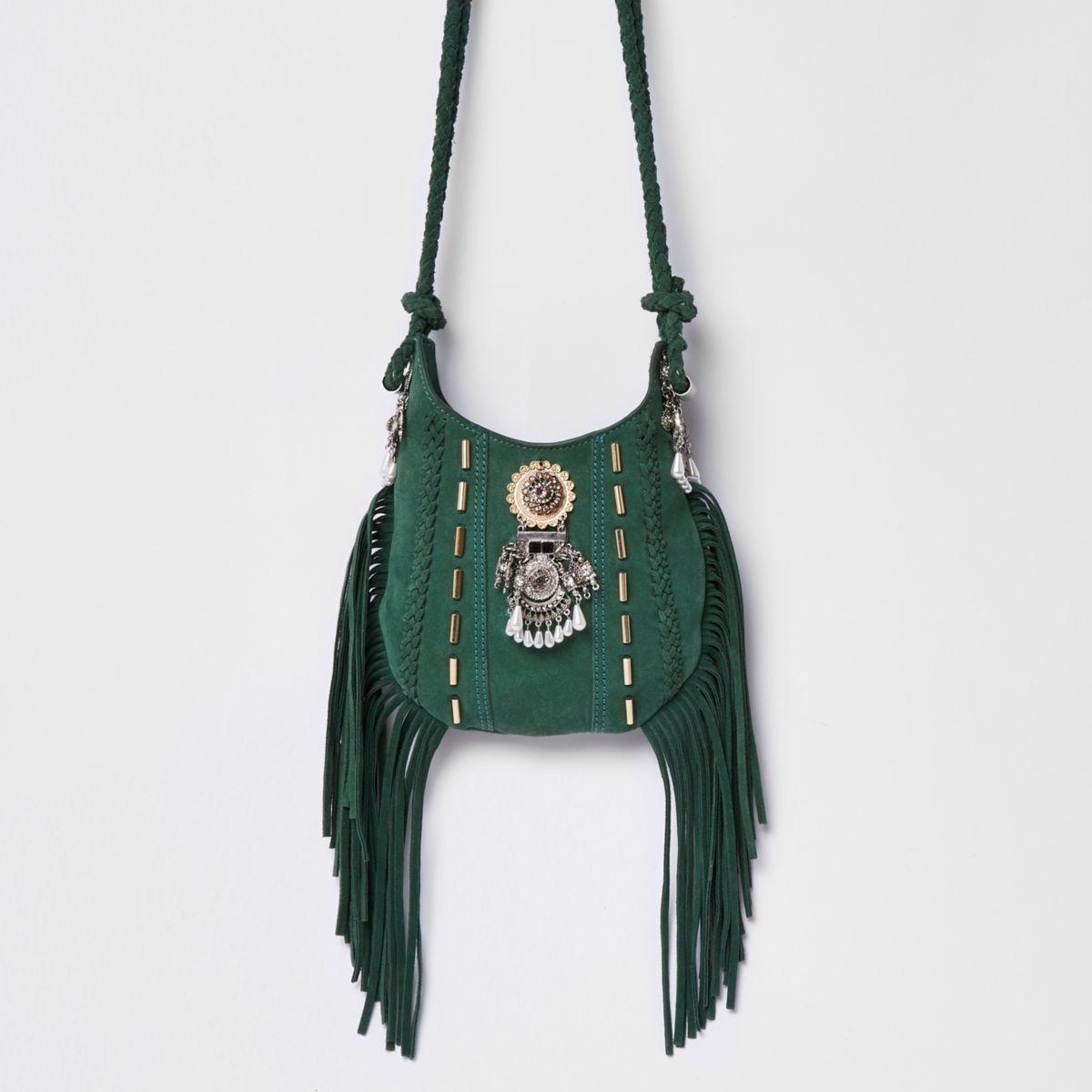 Green suede embellished fringed cross body ba