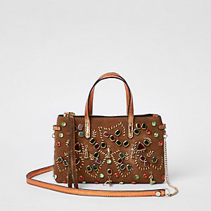 Tan metallic embellished cross body chain bag