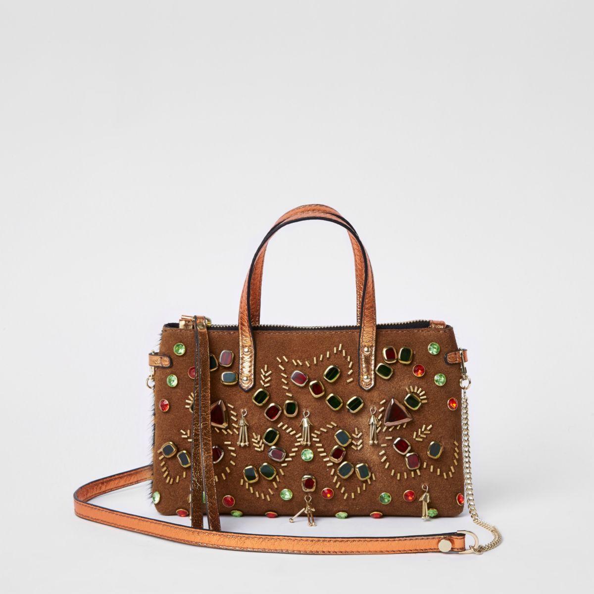 Tan metallic embellished cross body chain bag