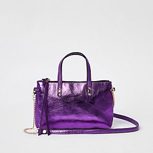 Purple metallic leather cross body chain bag