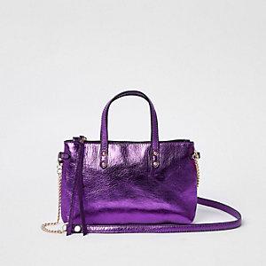 Sac en cuir violet métallisé à bandoulière chaîne