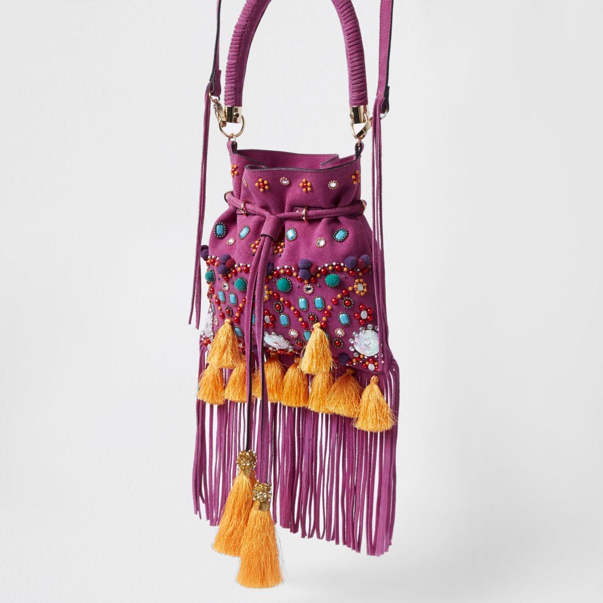 Pink suede embellished tassel cross body bag