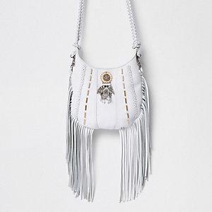 Weiße Umhängetasche aus verziertem Leder