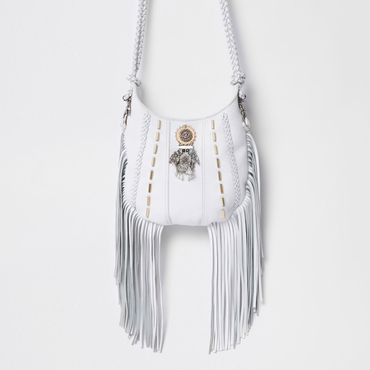 White embellished tassel cross body bag