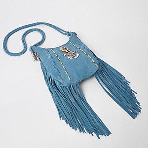 Blaue Umhängetasche aus Wildleder