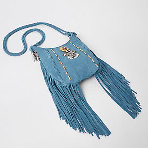 Blue embellished tassel brooch cross body bag