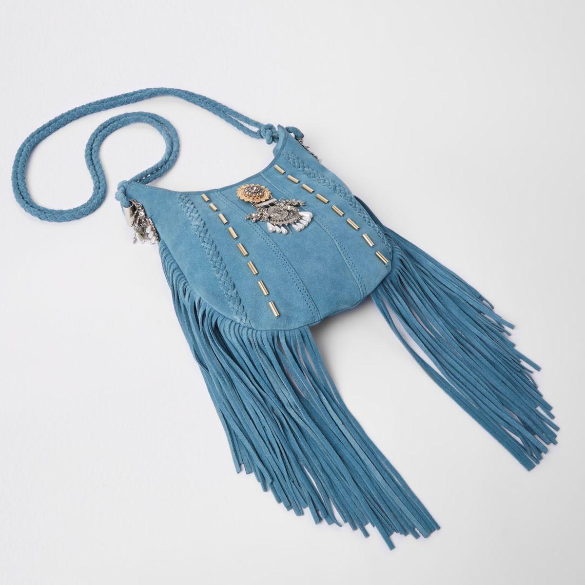 Blauwe verfraaide crossbodytas met broche en kwastje