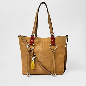 Beige suede hoop detail shopper
