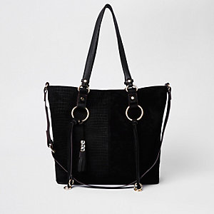 Black suede hoop detail shopper bag