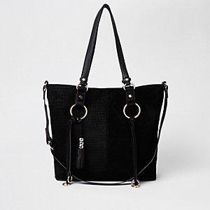 Black suede hoop detail shopper