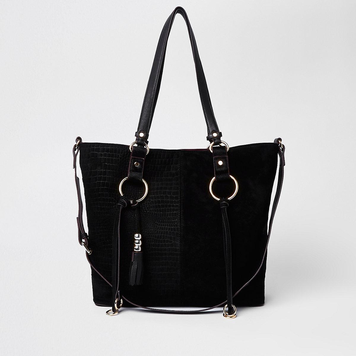Black suede hoop detail shopper bag