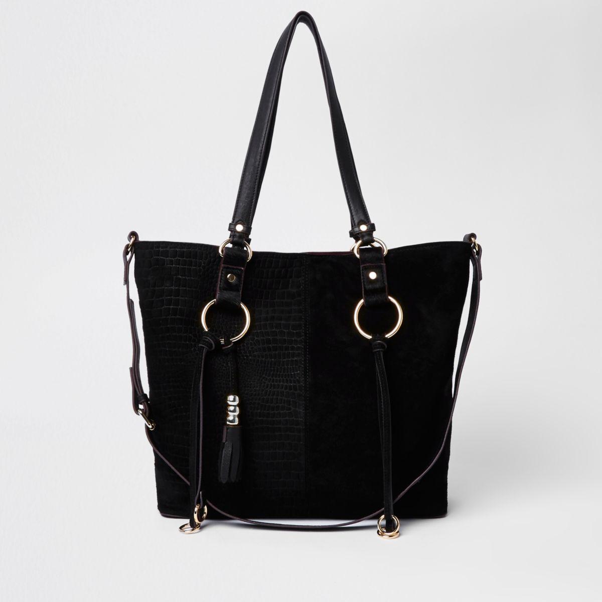 Womens Black suede hoop detail shopper bag River Island NW1nQAaH9