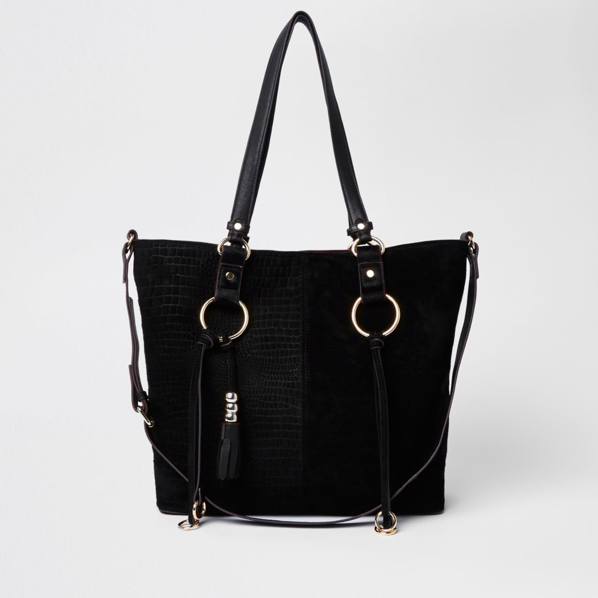 Black suede hoop detail shopper