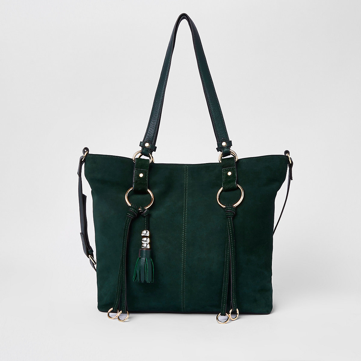 Green suede hoop detail shopper bag