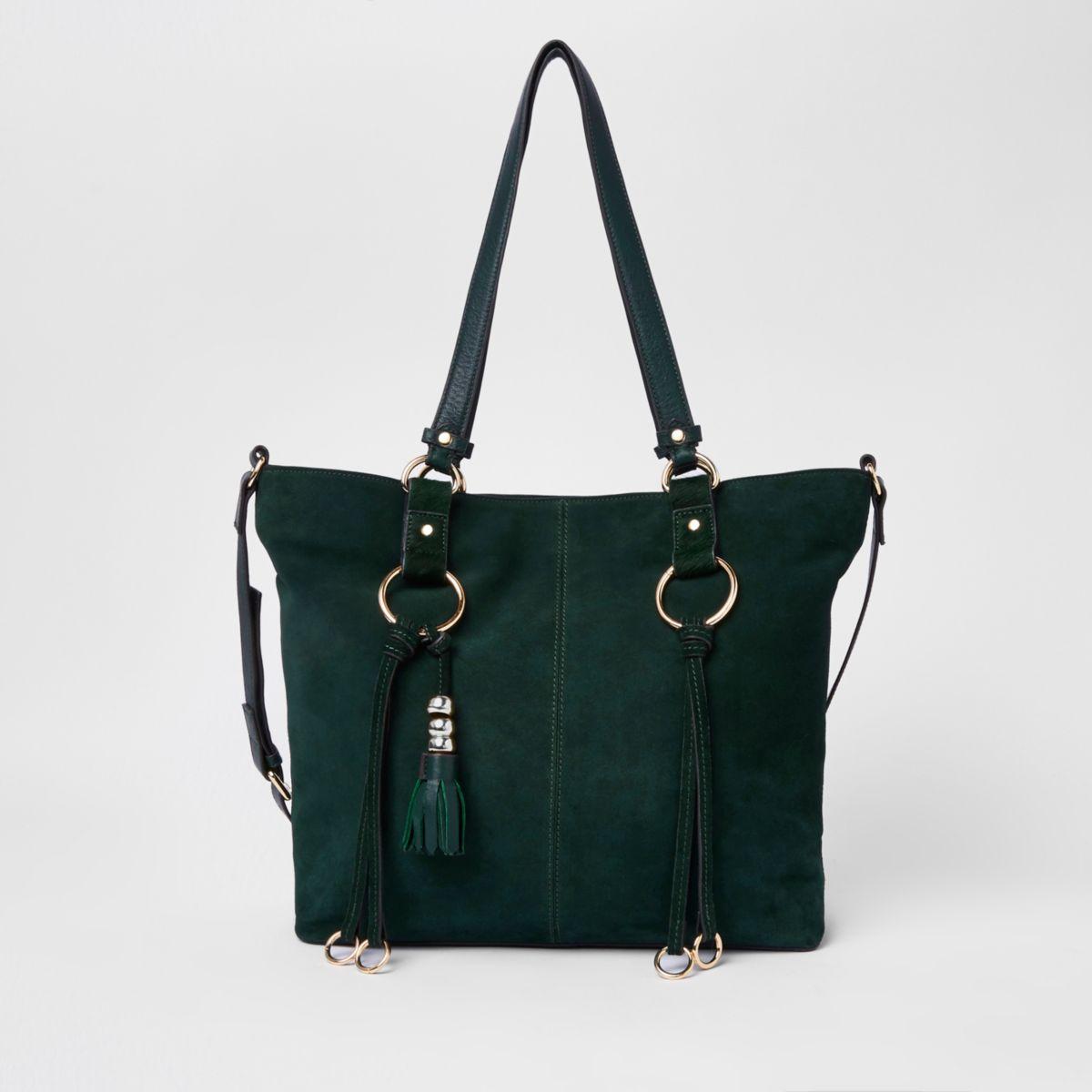 Green suede hoop detail shopper