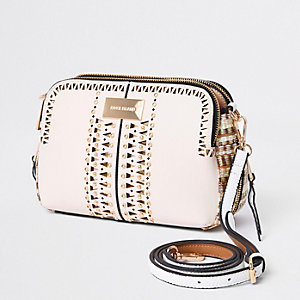 Beige laser cut cross cross body bag