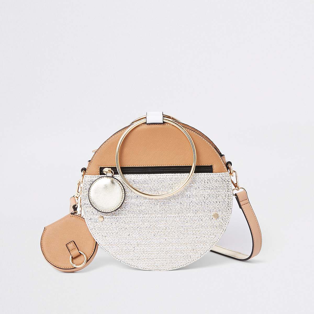 Beige gold tone handle round cross body bag