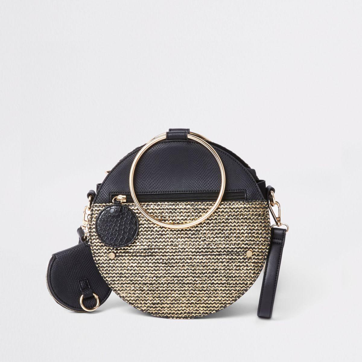 Black gold tone handle round cross body bag