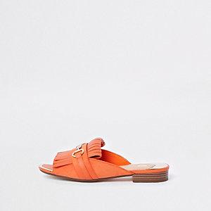Oranje loafers zonder hiel met peeptoe