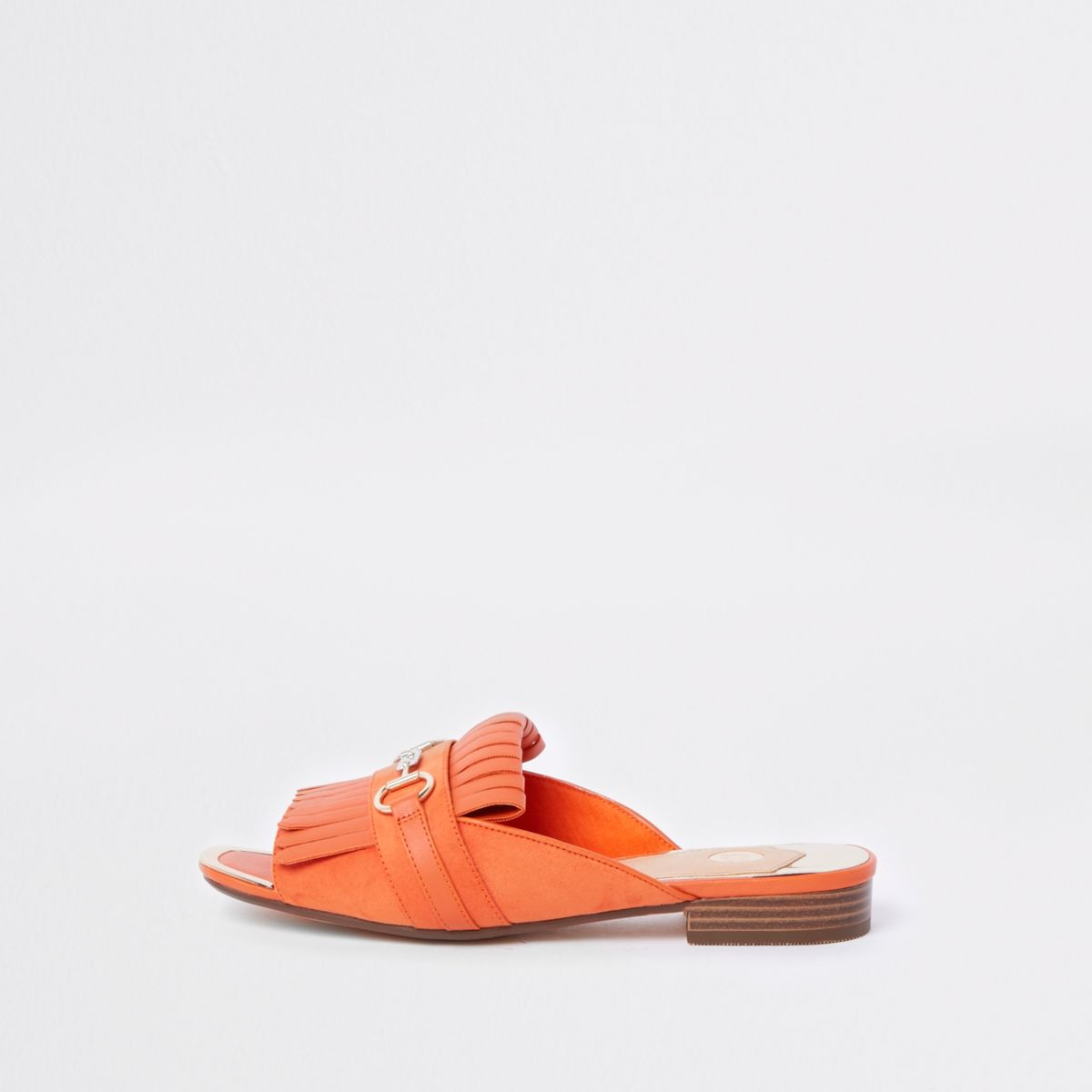 Orange peep toe backless loafer